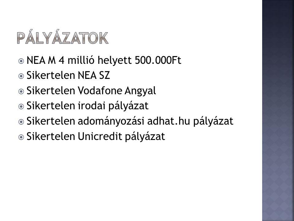  NEA M 4 millió helyett 500.000Ft  Sikertelen NEA SZ  Sikertelen Vodafone Angyal  Sikertelen irodai pályázat  Sikertelen adományozási adhat.hu pályázat  Sikertelen Unicredit pályázat