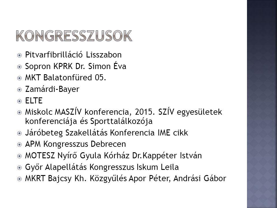  Pitvarfibrilláció Lisszabon  Sopron KPRK Dr. Simon Éva  MKT Balatonfüred 05.