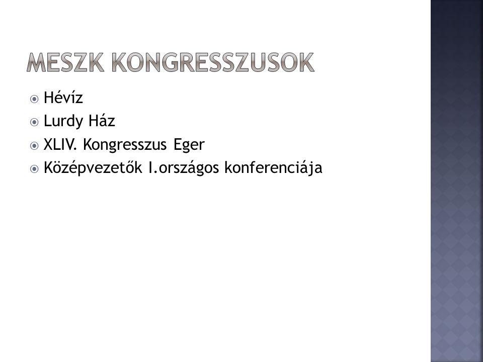  Hévíz  Lurdy Ház  XLIV. Kongresszus Eger  Középvezetők I.országos konferenciája