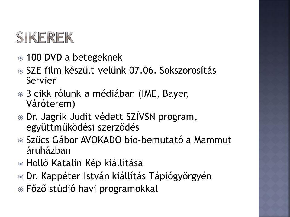  100 DVD a betegeknek  SZE film készült velünk 07.06.