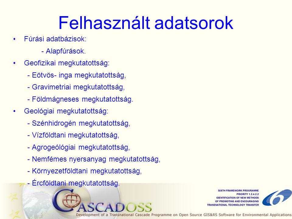 Felhasznált adatsorok Fúrási adatbázisok: - Alapfúrások.