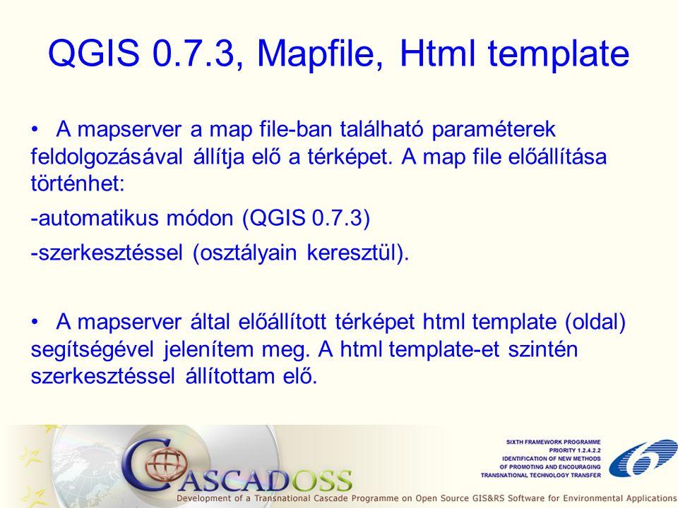 QGIS 0.7.3, Mapfile, Html template A mapserver a map file-ban található paraméterek feldolgozásával állítja elő a térképet.