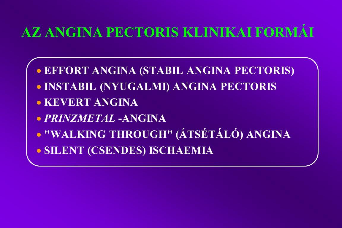 AZ ANGINA PECTORIS KLINIKAI FORMÁI  EFFORT ANGINA (STABIL ANGINA PECTORIS)  INSTABIL (NYUGALMI) ANGINA PECTORIS  KEVERT ANGINA  PRINZMETAL -ANGINA  WALKING THROUGH (ÁTSÉTÁLÓ) ANGINA  SILENT (CSENDES) ISCHAEMIA