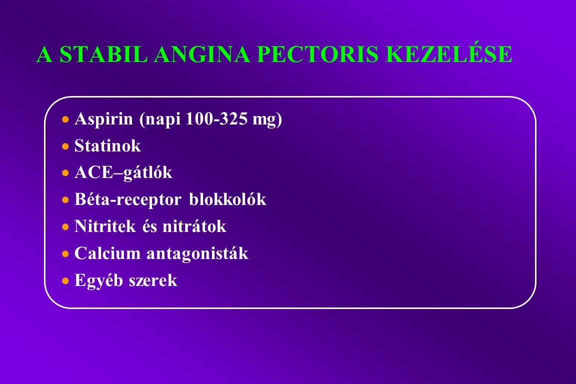 A STABIL ANGINA PECTORIS KEZELÉSE  Aspirin (napi 100-325 mg)  Statinok  ACE–gátlók  Béta-receptor blokkolók  Nitritek és nitrátok  Calcium antagonisták  Egyéb szerek