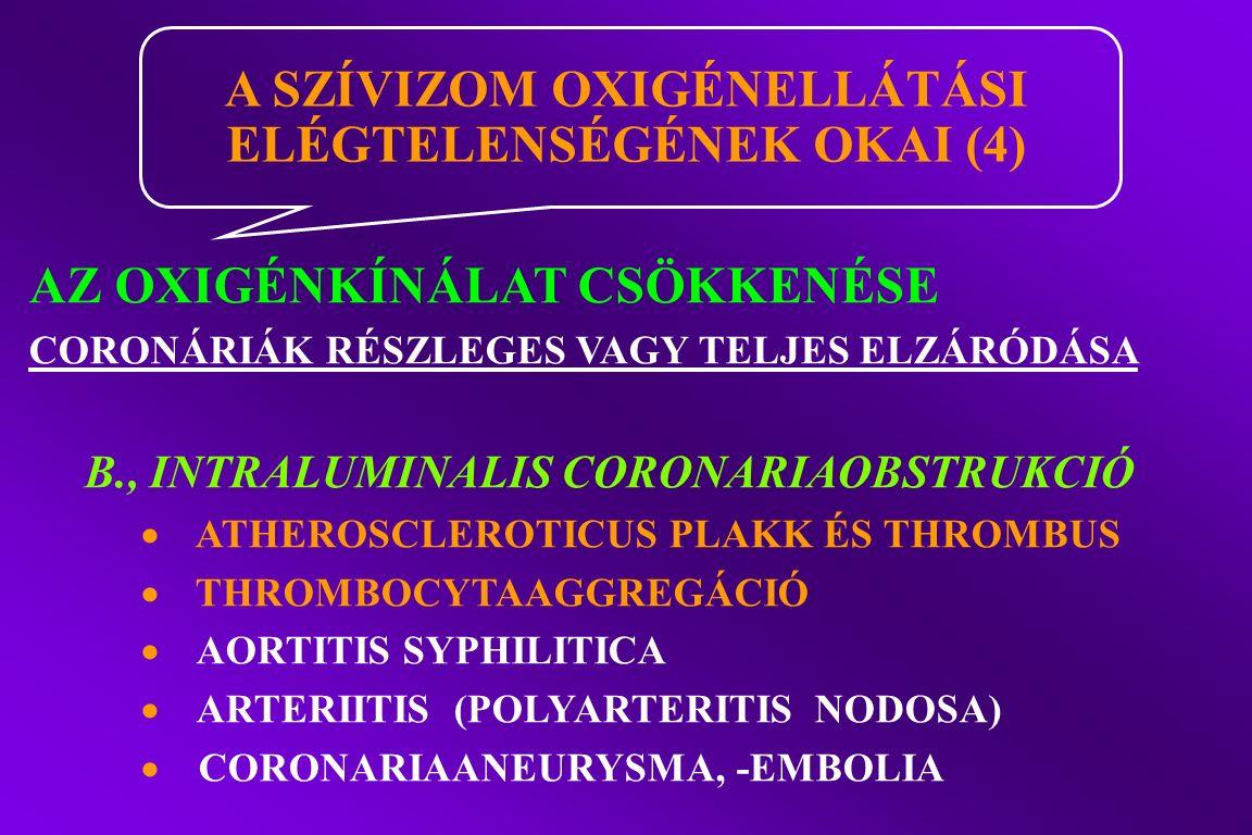 AZ OXIGÉNKÍNÁLAT CSÖKKENÉSE CORONÁRIÁK RÉSZLEGES VAGY TELJES ELZÁRÓDÁSA B., INTRALUMINALIS CORONARIAOBSTRUKCIÓ  ATHEROSCLEROTICUS PLAKK ÉS THROMBUS  THROMBOCYTAAGGREGÁCIÓ  AORTITIS SYPHILITICA  ARTERIITIS (POLYARTERITIS NODOSA)  CORONARIAANEURYSMA, -EMBOLIA A SZÍVIZOM OXIGÉNELLÁTÁSI ELÉGTELENSÉGÉNEK OKAI (4)
