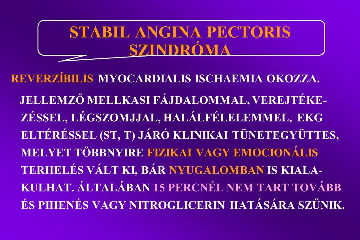 REVERZÍBILIS MYOCARDIALIS ISCHAEMIA OKOZZA.
