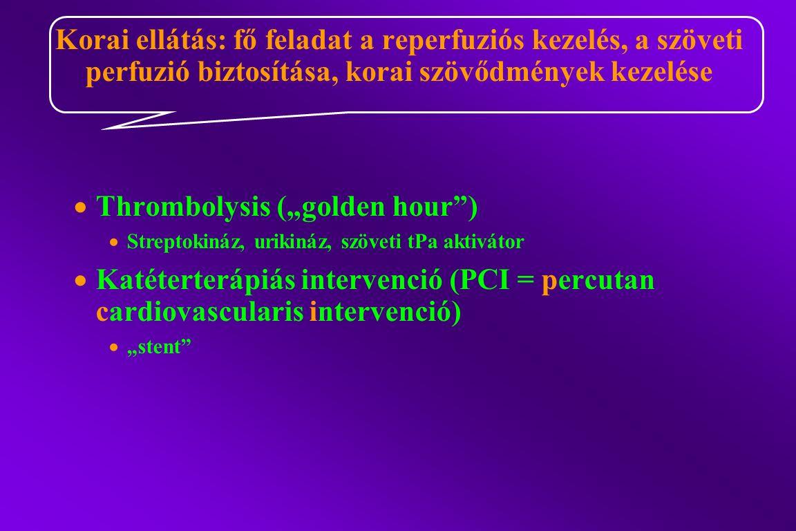 """ Thrombolysis (""""golden hour )  Streptokináz, urikináz, szöveti tPa aktivátor  Katéterterápiás intervenció (PCI = percutan cardiovascularis intervenció)  """"stent Korai ellátás: fő feladat a reperfuziós kezelés, a szöveti perfuzió biztosítása, korai szövődmények kezelése"""