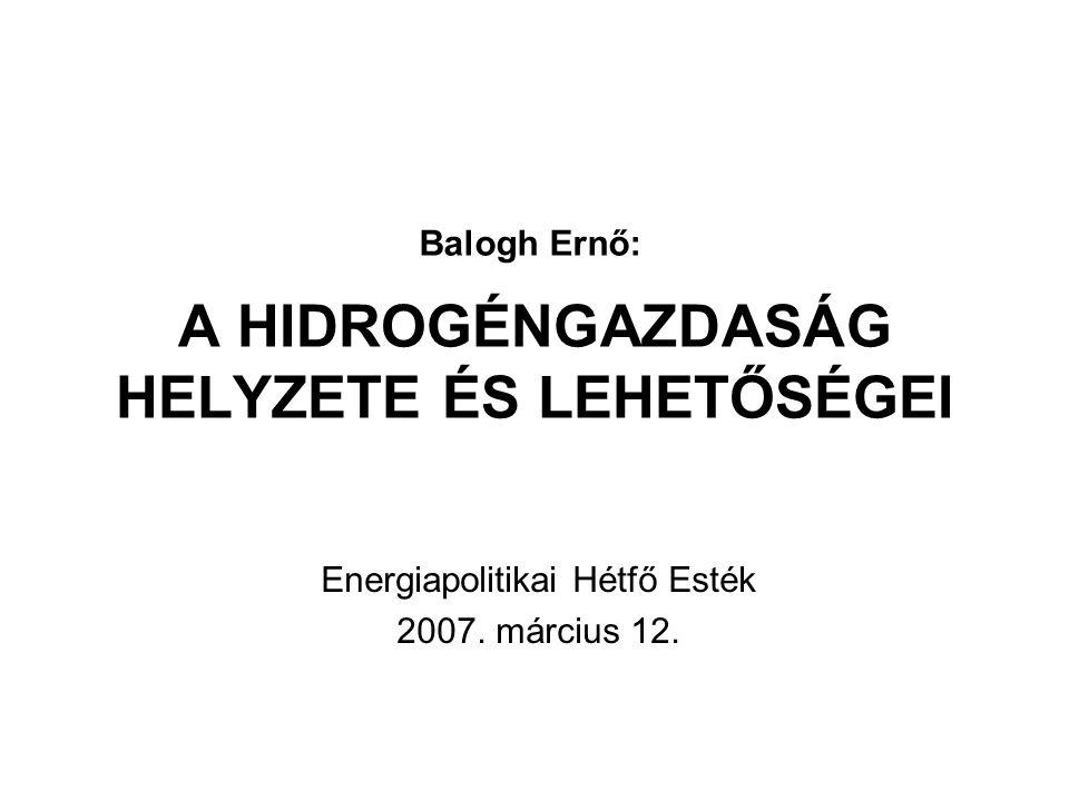 A HIDROGÉNGAZDASÁG HELYZETE ÉS LEHETŐSÉGEI Energiapolitikai Hétfő Esték 2007. március 12. Balogh Ernő: