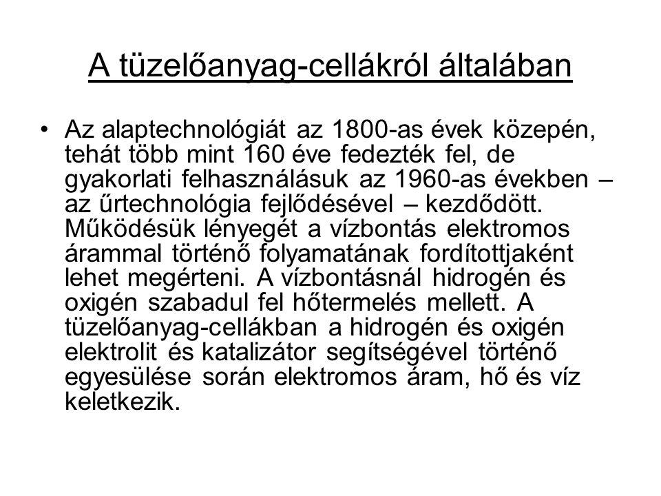 A tüzelőanyag-cellákról általában Az alaptechnológiát az 1800-as évek közepén, tehát több mint 160 éve fedezték fel, de gyakorlati felhasználásuk az 1