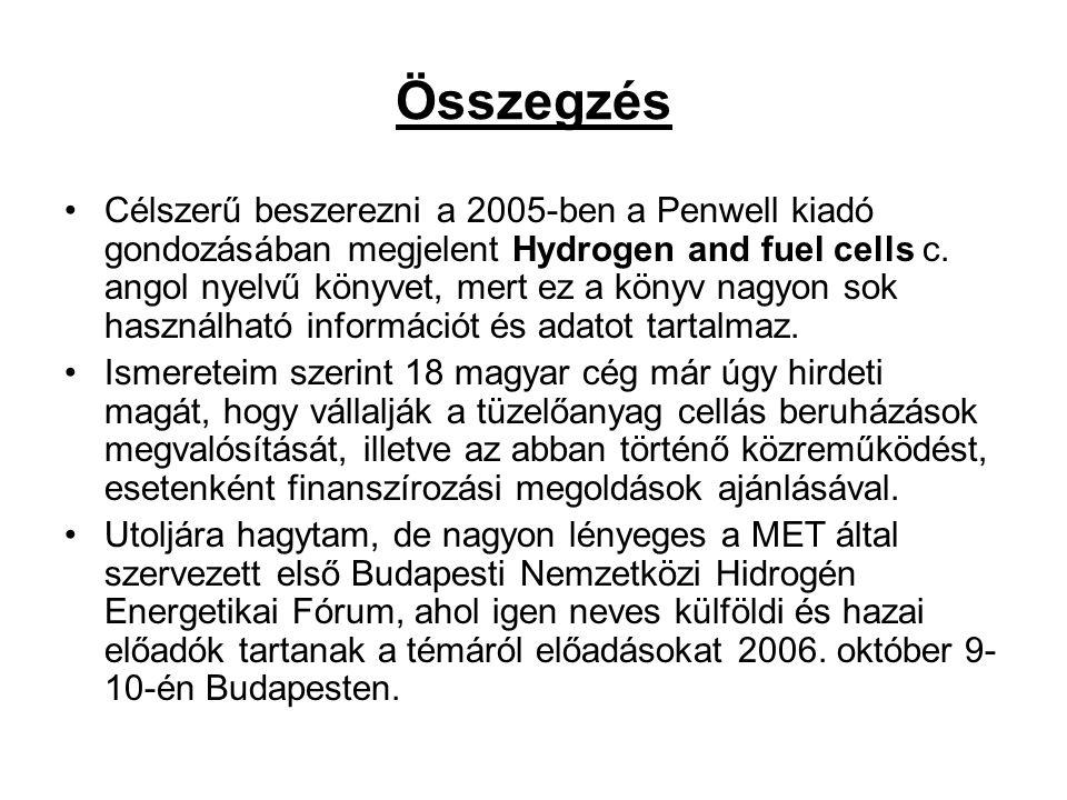Összegzés Célszerű beszerezni a 2005-ben a Penwell kiadó gondozásában megjelent Hydrogen and fuel cells c. angol nyelvű könyvet, mert ez a könyv nagyo