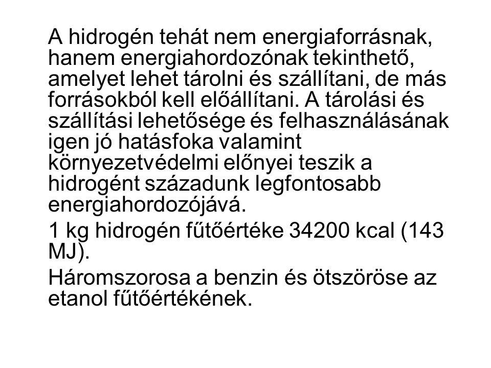 A hidrogén tehát nem energiaforrásnak, hanem energiahordozónak tekinthető, amelyet lehet tárolni és szállítani, de más forrásokból kell előállítani.