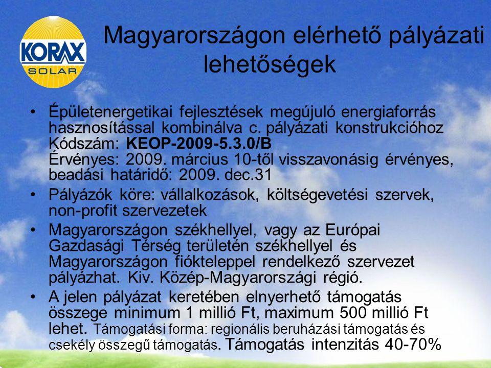 Magyarországon elérhető pályázati lehetőségek Épületenergetikai fejlesztések megújuló energiaforrás hasznosítással kombinálva c.