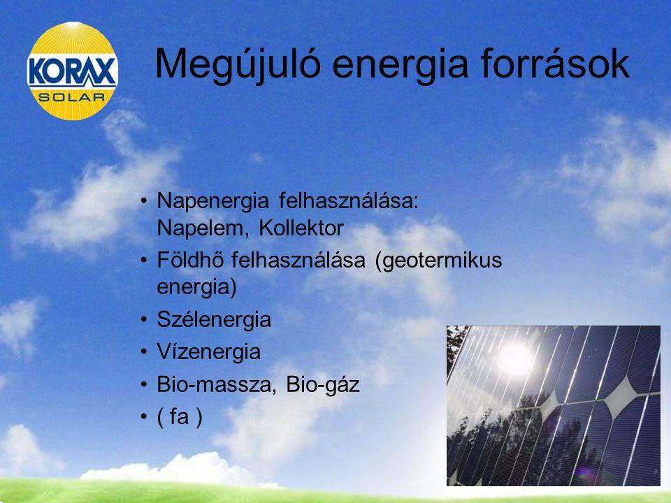 Megújuló energia források Napenergia felhasználása: Napelem, Kollektor Földhő felhasználása (geotermikus energia) Szélenergia Vízenergia Bio-massza, Bio-gáz ( fa )