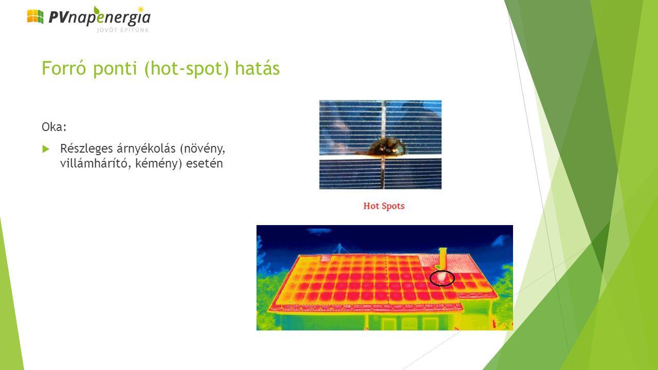 Forró ponti (hot-spot) hatás Oka:  Részleges árnyékolás (növény, villámhárító, kémény) esetén