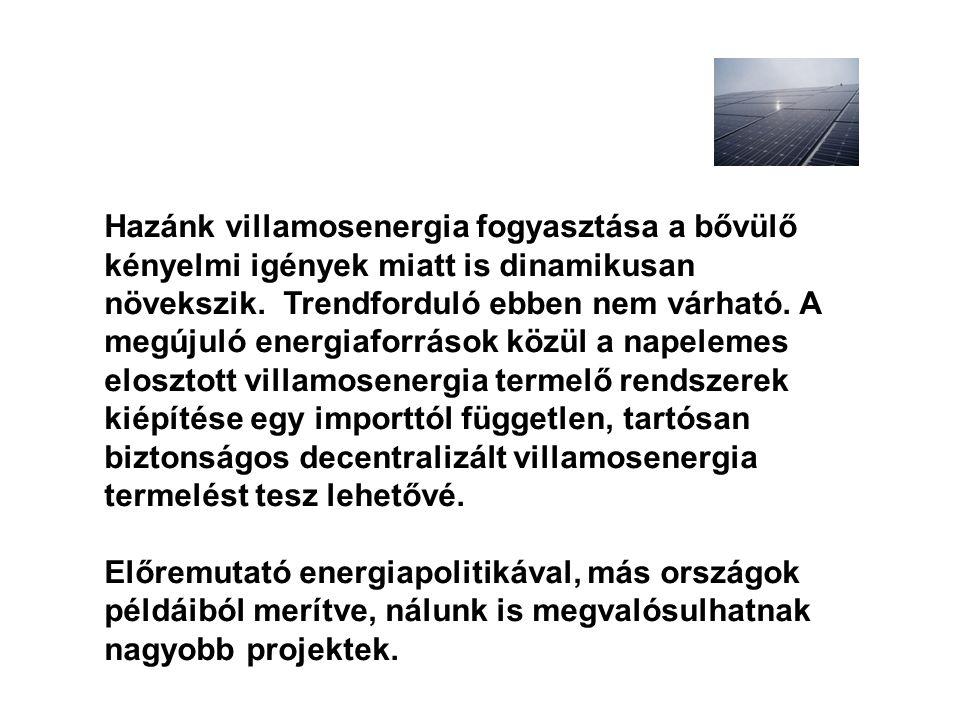 Hazánk villamosenergia fogyasztása a bővülő kényelmi igények miatt is dinamikusan növekszik. Trendforduló ebben nem várható. A megújuló energiaforráso