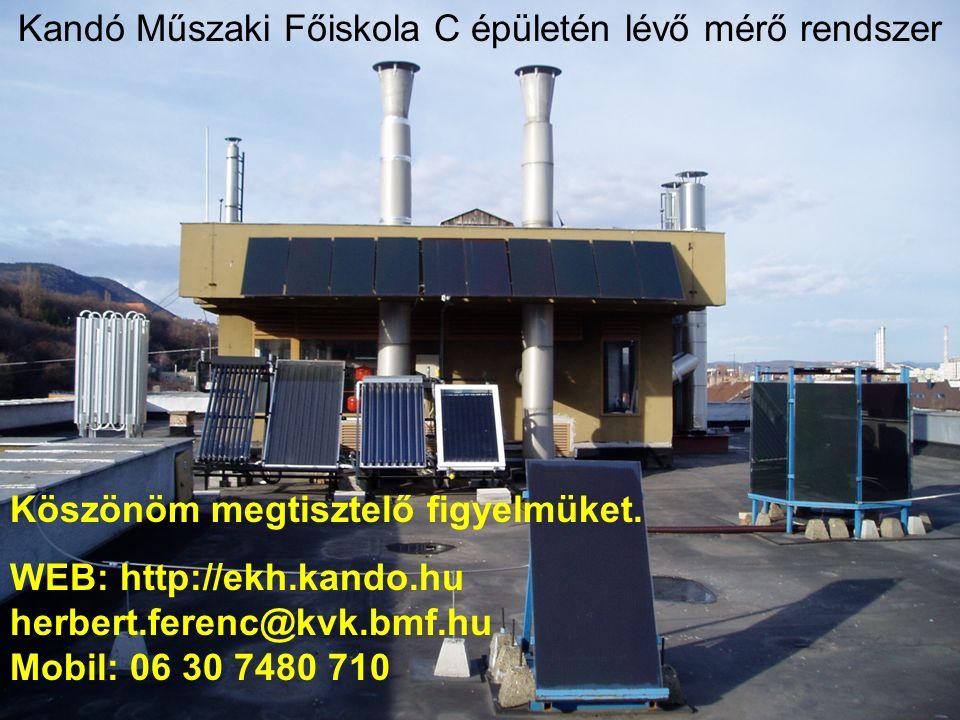 Kandó Műszaki Főiskola C épületén lévő mérő rendszer WEB: http://ekh.kando.hu herbert.ferenc@kvk.bmf.hu Mobil: 06 30 7480 710 Köszönöm megtisztelő figyelmüket.