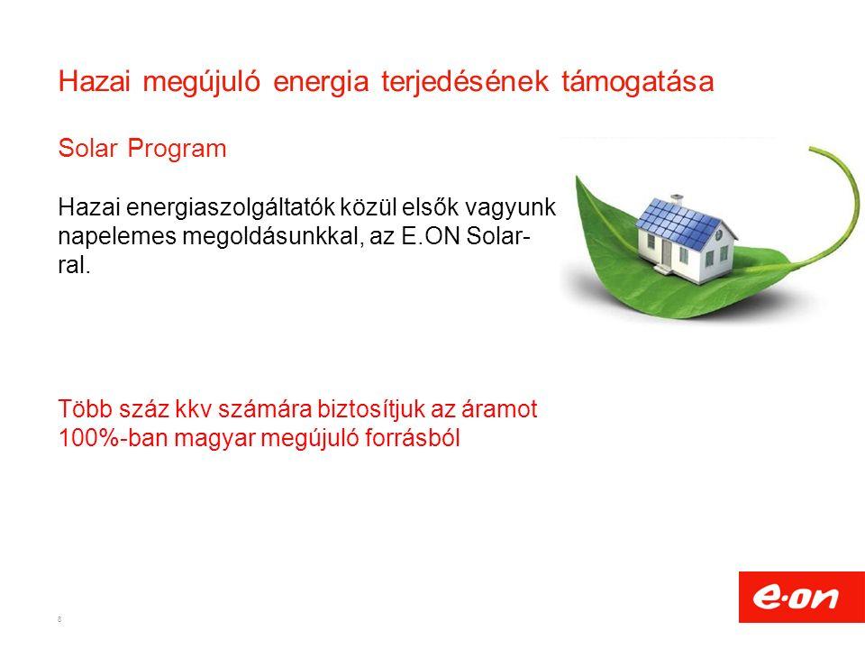 Hazai megújuló energia terjedésének támogatása Solar Program Hazai energiaszolgáltatók közül elsők vagyunk napelemes megoldásunkkal, az E.ON Solar- ral.