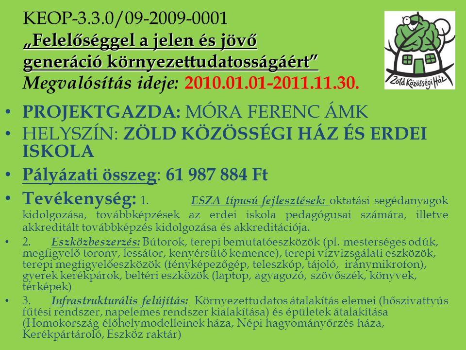PROJEKTGAZDA: MÓRA FERENC ÁMK HELYSZÍN: ZÖLD KÖZÖSSÉGI HÁZ ÉS ERDEI ISKOLA Pályázati összeg : 61 987 884 Ft Tevékenység: 1. ESZA típusú fejlesztések: