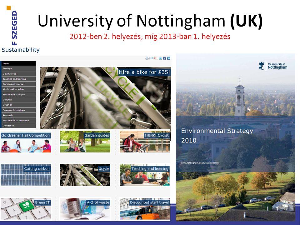 University of Nottingham (UK) 2012-ben 2. helyezés, míg 2013-ban 1. helyezés