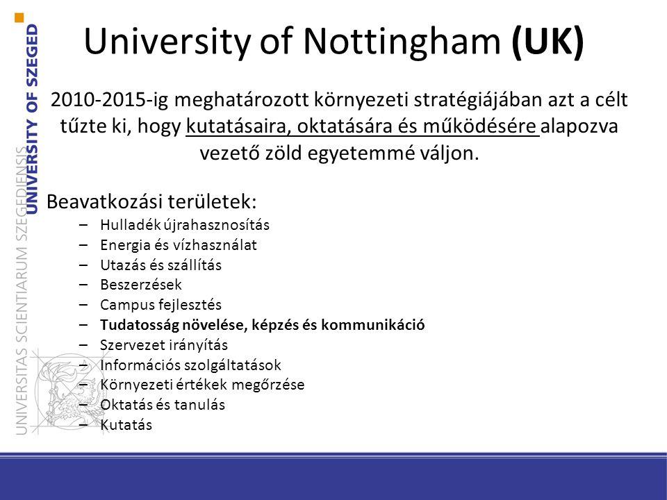 University of Nottingham (UK) 2010-2015-ig meghatározott környezeti stratégiájában azt a célt tűzte ki, hogy kutatásaira, oktatására és működésére alapozva vezető zöld egyetemmé váljon.