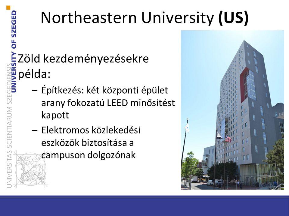 Zöld kezdeményezésekre példa: –Építkezés: két központi épület arany fokozatú LEED minősítést kapott –Elektromos közlekedési eszközök biztosítása a campuson dolgozónak Northeastern University (US)