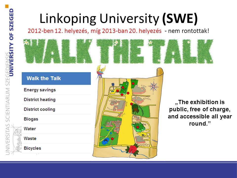"Linkoping University (SWE) 2012-ben 12. helyezés, míg 2013-ban 20. helyezés - nem rontottak! ""The exhibition is public, free of charge, and accessible"