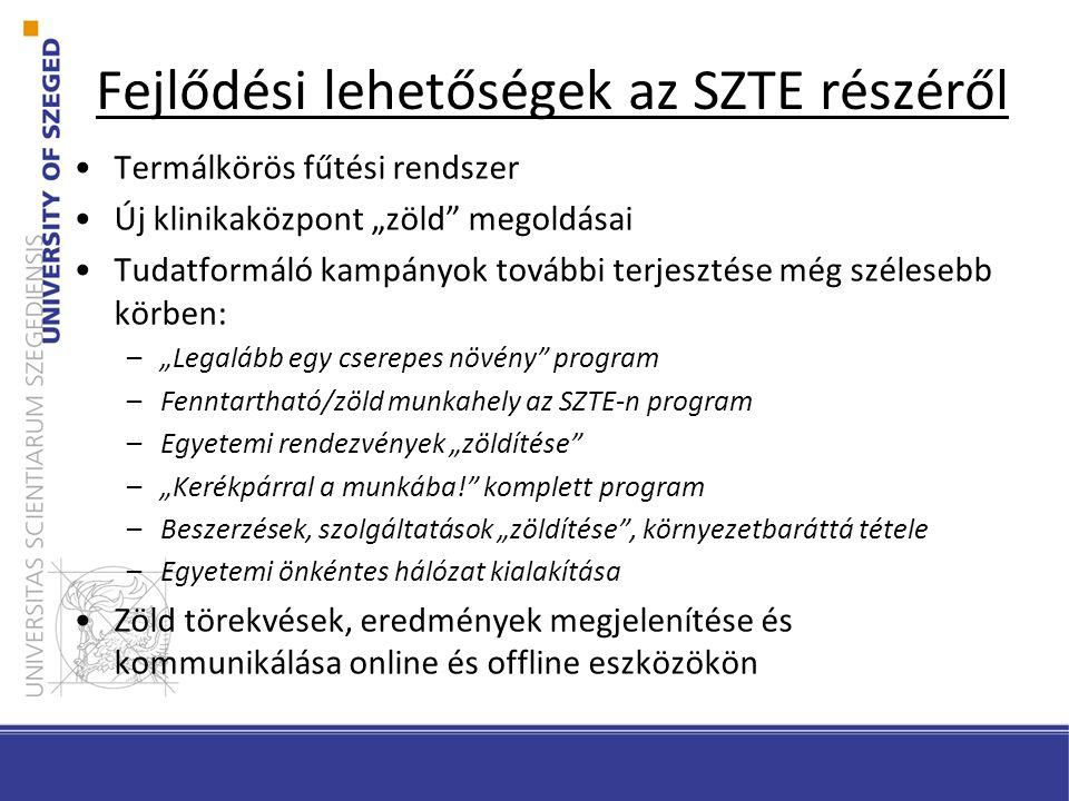 """Fejlődési lehetőségek az SZTE részéről Termálkörös fűtési rendszer Új klinikaközpont """"zöld megoldásai Tudatformáló kampányok további terjesztése még szélesebb körben: –""""Legalább egy cserepes növény program –Fenntartható/zöld munkahely az SZTE-n program –Egyetemi rendezvények """"zöldítése –""""Kerékpárral a munkába! komplett program –Beszerzések, szolgáltatások """"zöldítése , környezetbaráttá tétele –Egyetemi önkéntes hálózat kialakítása Zöld törekvések, eredmények megjelenítése és kommunikálása online és offline eszközökön"""