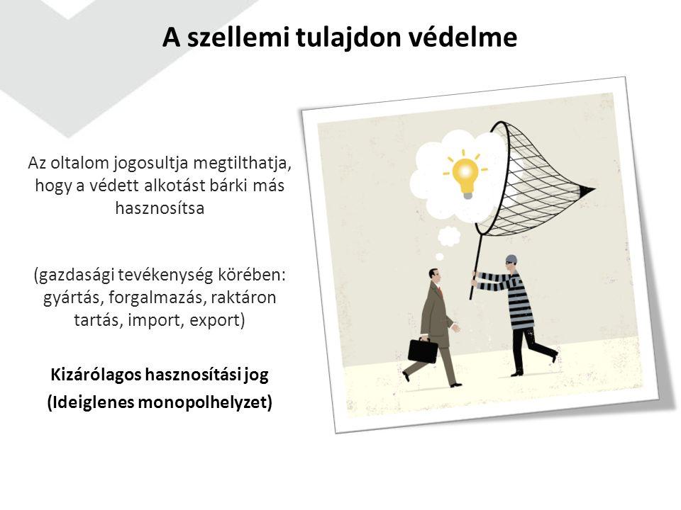 A szellemi tulajdon védelme Célok: kutatás-fejlesztés és kreativitás jutalmazása versenyelőny - befektetések megtérülése innováció, kreativitás elősegítése fogyasztók tájékozódásának elősegítése, a vállalkozás arculatának felépítése