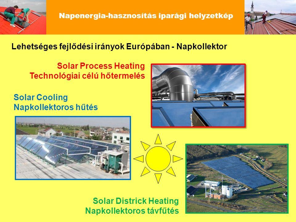 Napenergia-hasznosítás iparági helyzetkép Lehetséges fejlődési irányok Európában - Napkollektor Solar Process Heating Technológiai célú hőtermelés Sol