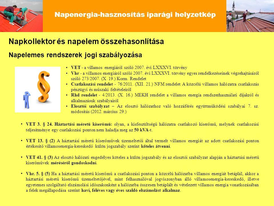 Napenergia-hasznosítás iparági helyzetkép Napkollektor és napelem összehasonlítása VET - a villamos energiáról szóló 2007. évi LXXXVI. törvény Vhr - a