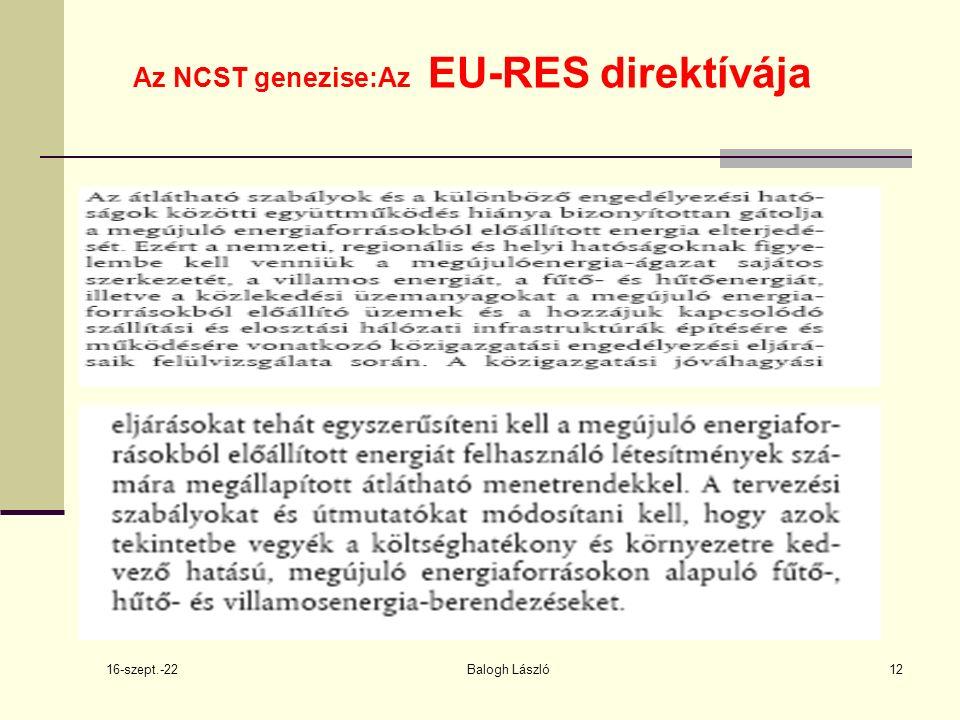 16-szept.-22 Balogh László12 Az NCST genezise:Az EU-RES direktívája
