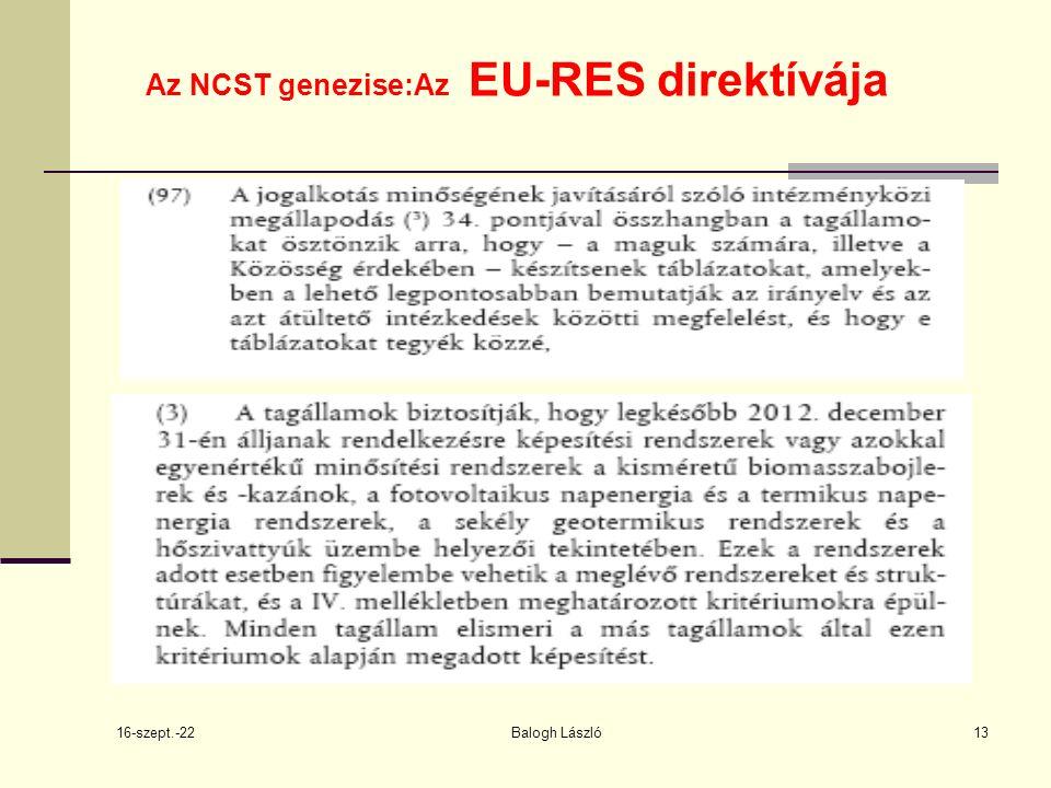 16-szept.-22 Balogh László13 Az NCST genezise:Az EU-RES direktívája