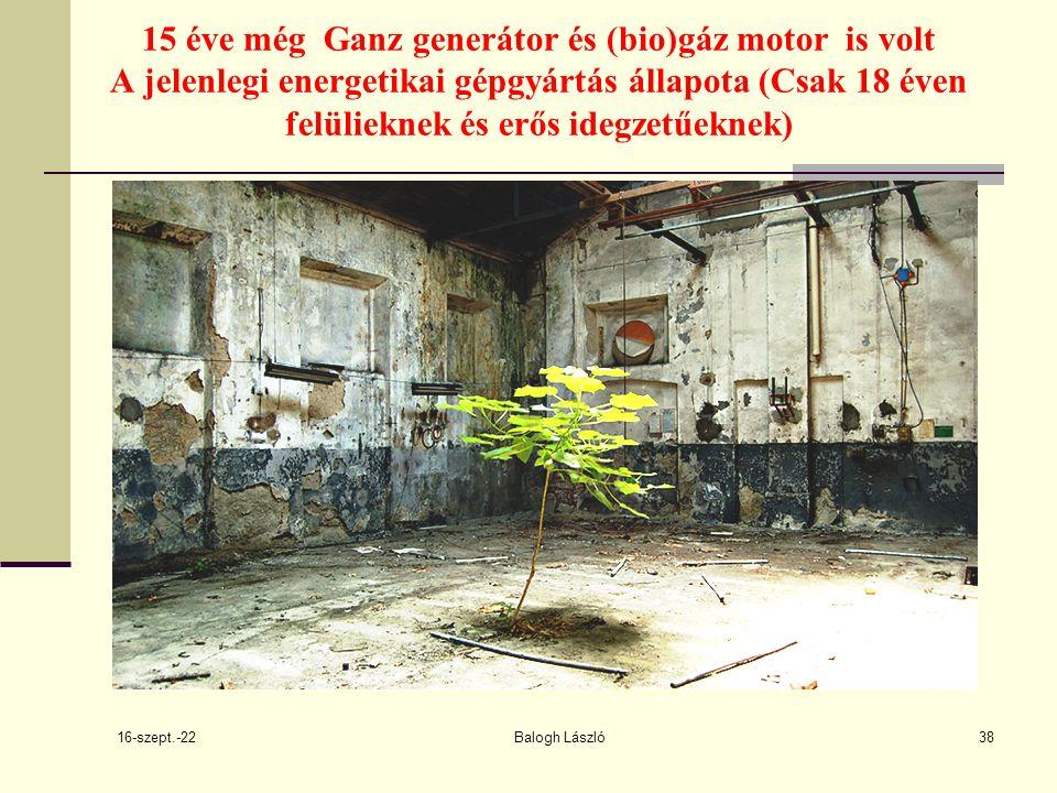 16-szept.-22 Balogh László38 15 éve még Ganz generátor és (bio)gáz motor is volt A jelenlegi energetikai gépgyártás állapota (Csak 18 éven felülieknek és erős idegzetűeknek)