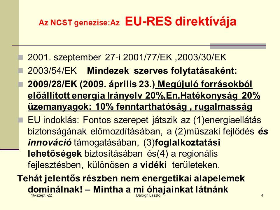 16-szept.-22 Balogh László15 Az NCST genezise:Az EU-RES direktívája