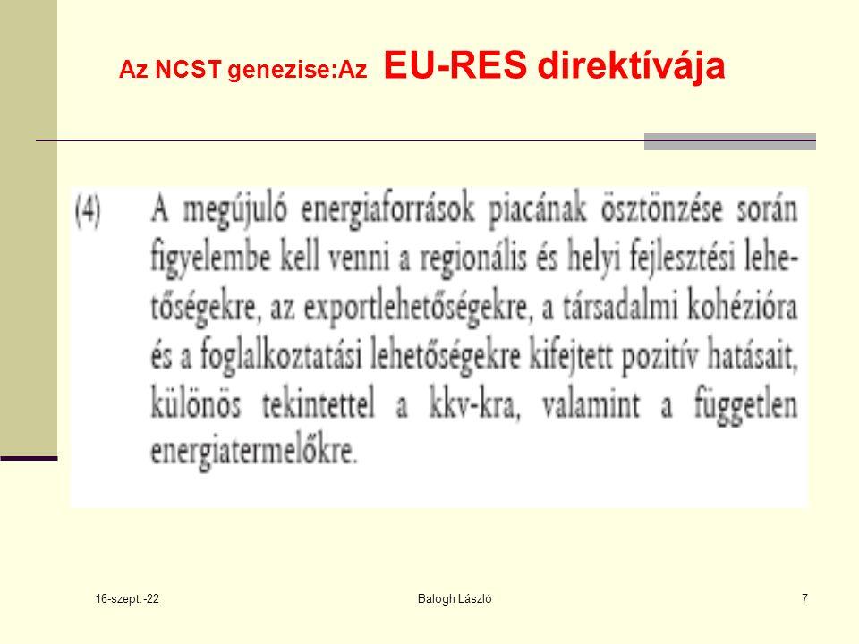 16-szept.-22 Balogh László18 2009/28 EKCélkitűzés :megújuló energiaforrásokból előállított energiának a 2020.