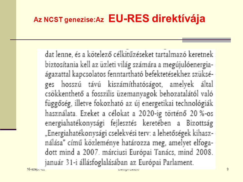 16-szept.-22 Balogh László9 Az NCST genezise:Az EU-RES direktívája