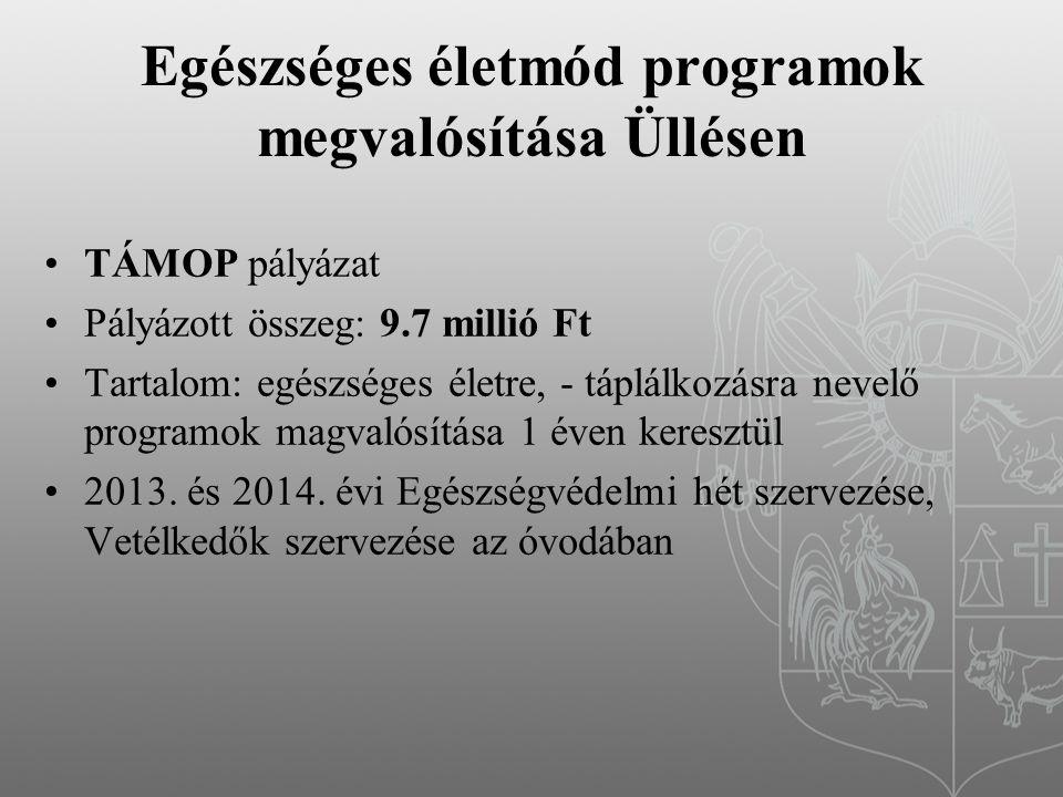 Egészséges életmód programok megvalósítása Üllésen TÁMOP pályázat Pályázott összeg: 9.7 millió Ft Tartalom: egészséges életre, - táplálkozásra nevelő programok magvalósítása 1 éven keresztül 2013.