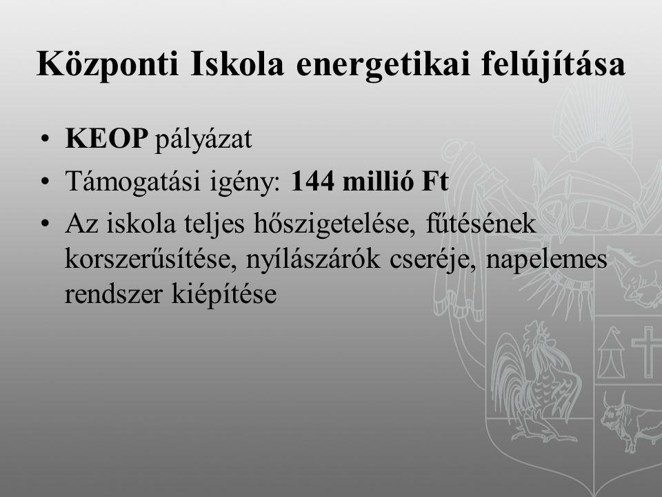 Központi Iskola energetikai felújítása KEOP pályázat Támogatási igény: 144 millió Ft Az iskola teljes hőszigetelése, fűtésének korszerűsítése, nyílászárók cseréje, napelemes rendszer kiépítése