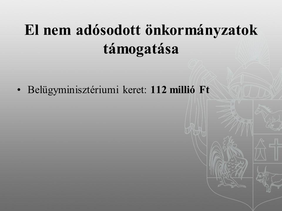El nem adósodott önkormányzatok támogatása Belügyminisztériumi keret: 112 millió Ft