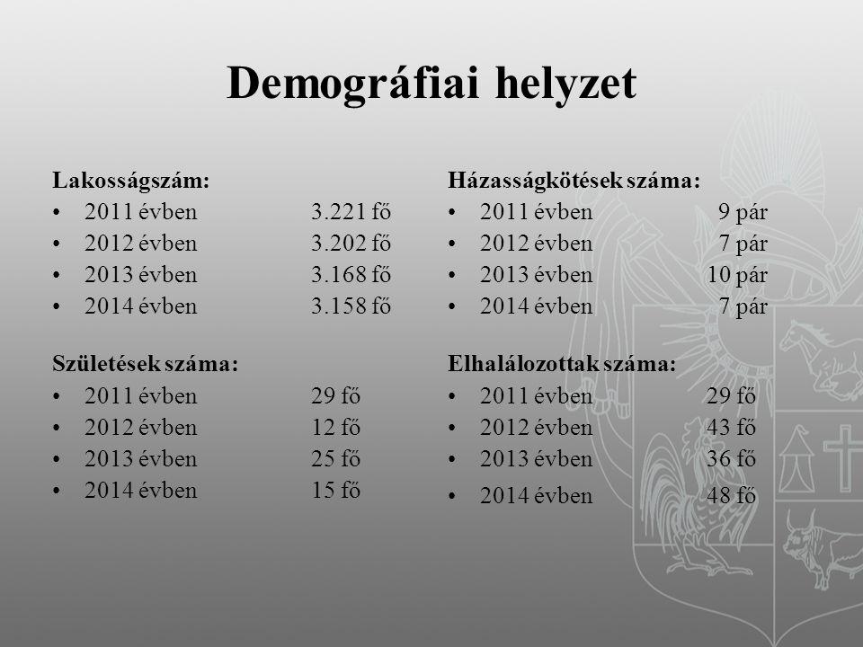 Demográfiai helyzet Lakosságszám: 2011 évben 3.221 fő 2012 évben3.202 fő 2013 évben3.168 fő 2014 évben3.158 fő Születések száma: 2011 évben 29 fő 2012 évben 12 fő 2013 évben25 fő 2014 évben15 fő Házasságkötések száma: 2011 évben 9 pár 2012 évben 7 pár 2013 évben10 pár 2014 évben 7 pár Elhalálozottak száma: 2011 évben 29 fő 2012 évben 43 fő 2013 évben36 fő 2014 évben48 fő