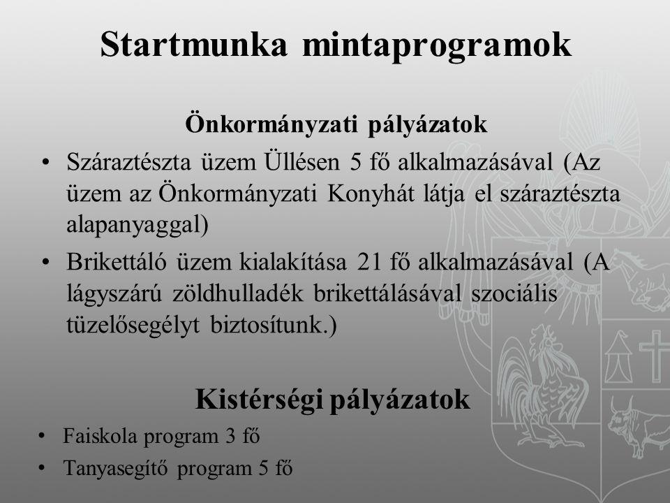 Startmunka mintaprogramok Önkormányzati pályázatok Száraztészta üzem Üllésen 5 fő alkalmazásával (Az üzem az Önkormányzati Konyhát látja el száraztészta alapanyaggal) Brikettáló üzem kialakítása 21 fő alkalmazásával (A lágyszárú zöldhulladék brikettálásával szociális tüzelősegélyt biztosítunk.) Kistérségi pályázatok Faiskola program 3 fő Tanyasegítő program 5 fő