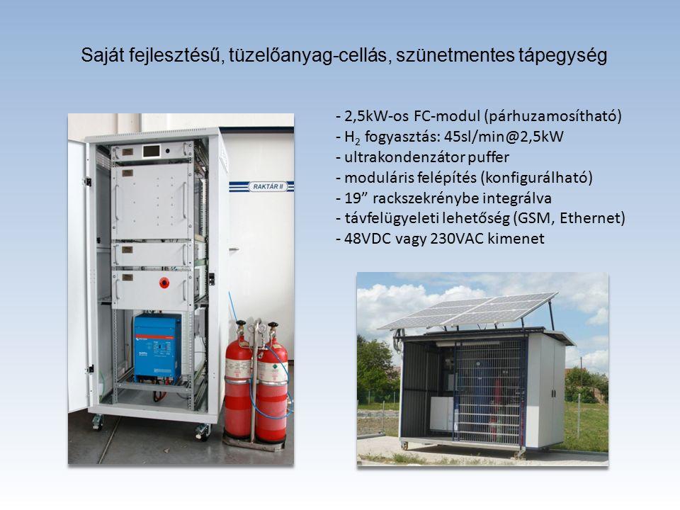 Saját fejlesztésű, tüzelőanyag-cellás, szünetmentes tápegység - 2,5kW-os FC-modul (párhuzamosítható) - H 2 fogyasztás: 45sl/min@2,5kW - ultrakondenzátor puffer - moduláris felépítés (konfigurálható) - 19 rackszekrénybe integrálva - távfelügyeleti lehetőség (GSM, Ethernet) - 48VDC vagy 230VAC kimenet