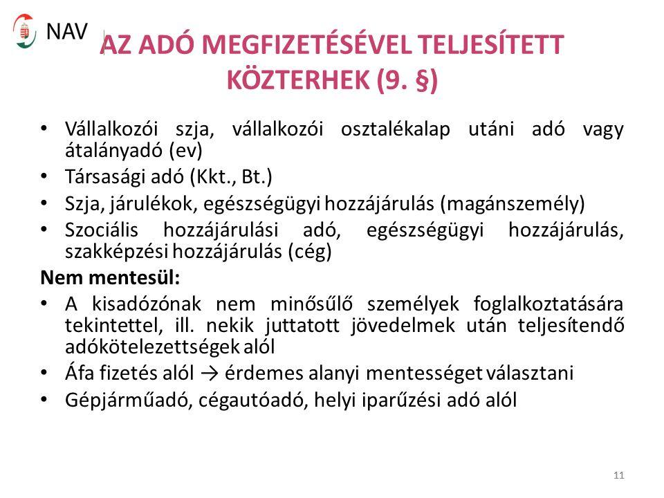 11 AZ ADÓ MEGFIZETÉSÉVEL TELJESÍTETT KÖZTERHEK (9.