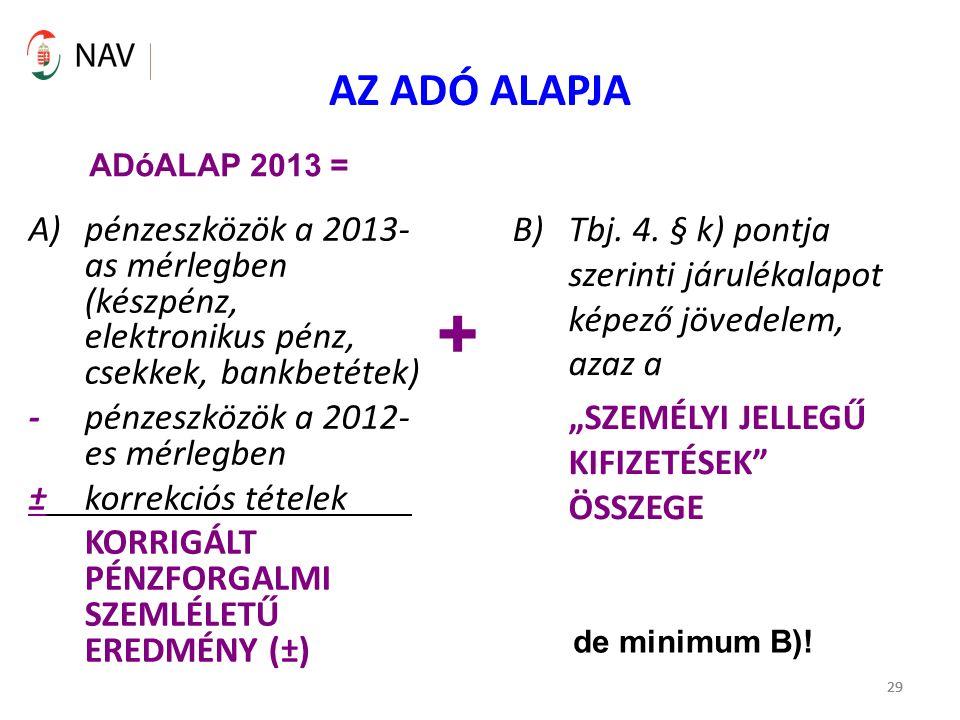 29 AZ ADÓ ALAPJA A)pénzeszközök a 2013- as mérlegben (készpénz, elektronikus pénz, csekkek, bankbetétek) - pénzeszközök a 2012- es mérlegben ± korrekc