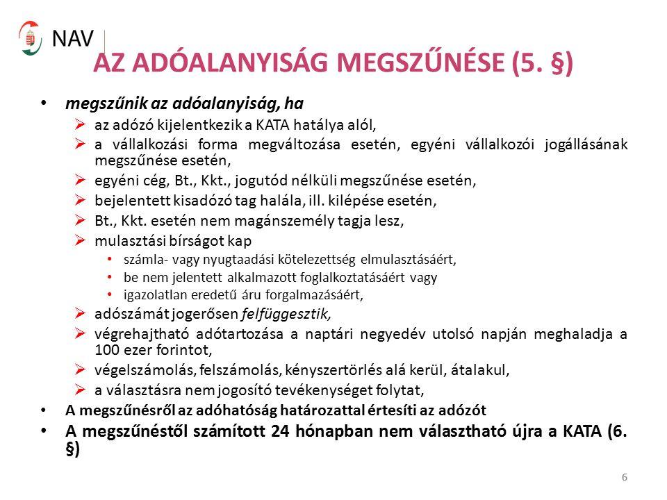 6 AZ ADÓALANYISÁG MEGSZŰNÉSE (5.
