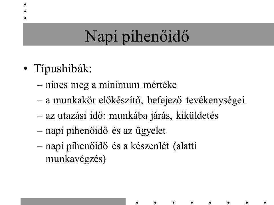Napi pihenőidő Típushibák: –nincs meg a minimum mértéke –a munkakör előkészítő, befejező tevékenységei –az utazási idő: munkába járás, kiküldetés –nap