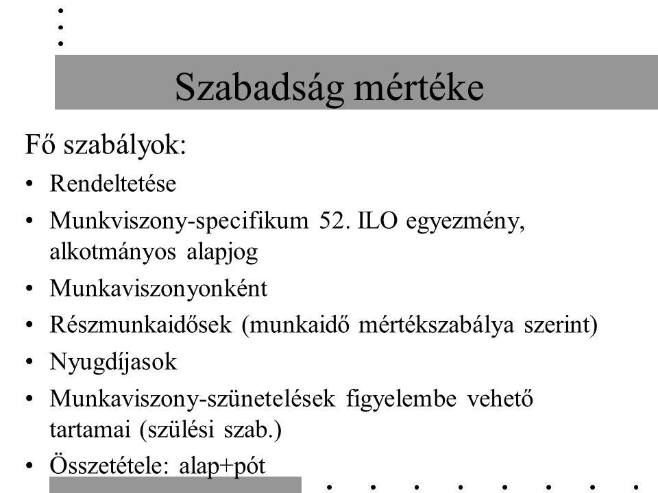 Szabadság mértéke Fő szabályok: Rendeltetése Munkviszony-specifikum 52.