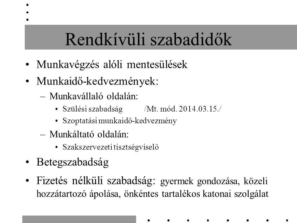 Rendkívüli szabadidők Munkavégzés alóli mentesülések Munkaidő-kedvezmények: –Munkavállaló oldalán: Szülési szabadság /Mt. mód. 2014.03.15./ Szoptatási