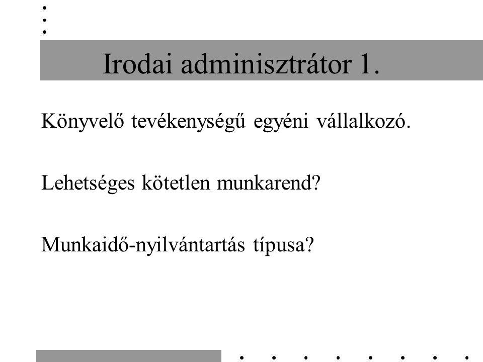 Irodai adminisztrátor 1. Könyvelő tevékenységű egyéni vállalkozó. Lehetséges kötetlen munkarend? Munkaidő-nyilvántartás típusa?