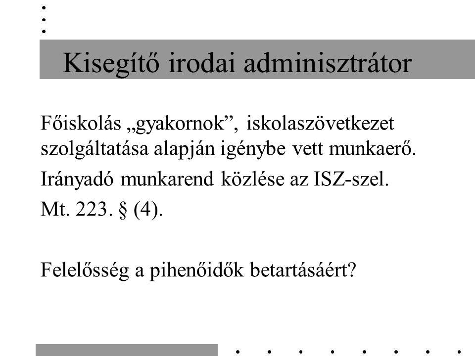 """Kisegítő irodai adminisztrátor Főiskolás """"gyakornok"""", iskolaszövetkezet szolgáltatása alapján igénybe vett munkaerő. Irányadó munkarend közlése az ISZ"""